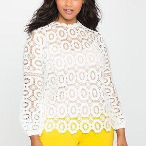 Gorg! Eloquii White Crochet Lace Blouse Top